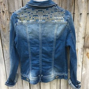 Forever 21 Denim Jacket With Gold Studs Size M